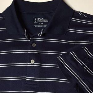 Other - PGA TOUR Golf shirt Men M Navy/wh stripe. Like new